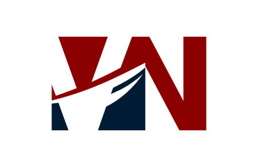 VN Red Negative Space Square Swoosh Letter Logo