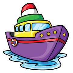 Ship Cartoon Illustration of cute cartoon ship.