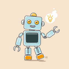 Cute robot waves his hand with yellow idea symbol. Vector illustration.