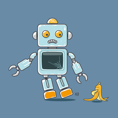Cute robot and banana mascot isolated on blue background. Concept for accident prediction. Vector illustration.