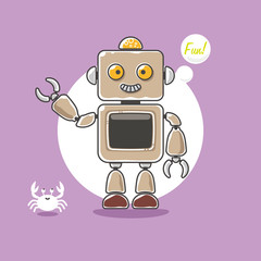 Cute robot and a little crab wave hand on purple background. Vector illustration.