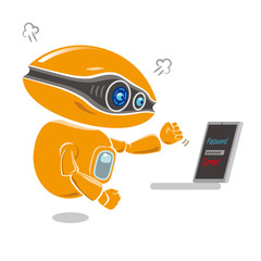Orange robot get impatient at trouble of error message on the laptop screen. Vector illustration.
