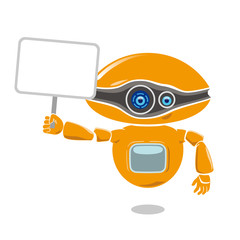 Orange robot holding a blank placard isolated on white background. Vector illustration.