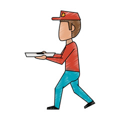 Colorful doodle pizza delivery man over white background vector illustration