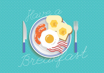 """Have A Breakfast"" text with breakfast plate meal illustration background vector"
