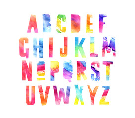 Watercolor alphabet. Beautiful letters
