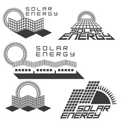 An illustration consisting of five images of solar panels in the form of a logo