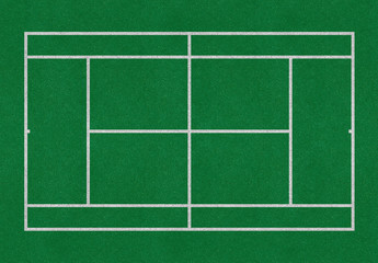 Tennis field. Big tennis green court. Top view. Isolated