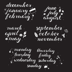 Hand-drawn Calendar Set. Set of Months of the Year and Days of Week.