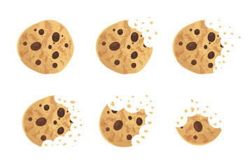 Bitten  chip cookie vector illustration set