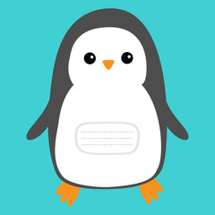 Notebook cover. Penguin. Cute cartoon character. Arctic animal collection. Baby bird. Flat design Blue winter background. Isolated.