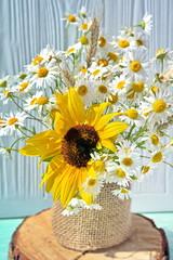 Autumn bouquet of chamomiles