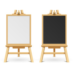 School black and white blank boards on easel vector illustration