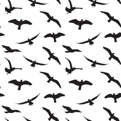 Seagull Silhouettes seamless pattern Silhouettes