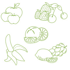 Cute vector illustration of organic fruits and berries.  Healthy eating vector concept.