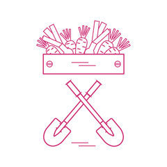 Cute vector illustration of harvest: two shovels, box of carrots and onion.