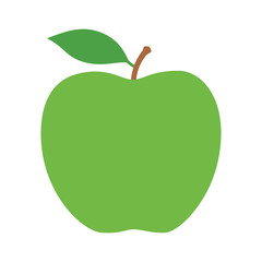 Green granny Smith apple fruit with leaf flat vector icon for food apps and websites