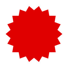 Red starburst, burst, badge, seal or label flat vector icon for apps and websites