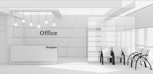 Reception desk in the interior grid 3D rendering