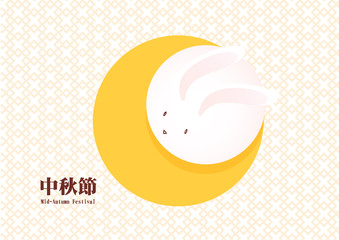 Mid Autumn Festival : moon rabbit on the sky illustration design vector