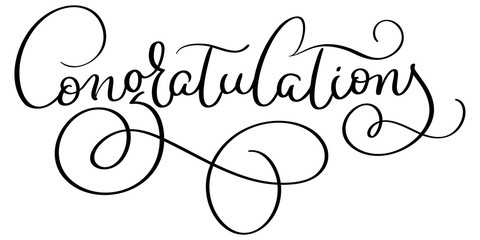 Congratulations word on white background. Hand drawn Calligraphy lettering Vector illustration EPS10