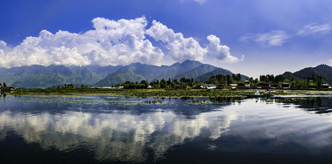 Panoramic landscape of Dal Lake, Srinagar, India