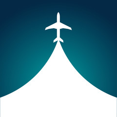 white silhouette of airplane, isolated on blue Flat icon modern design style