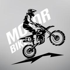 motocross stylized vector symbol, design elements for logo template