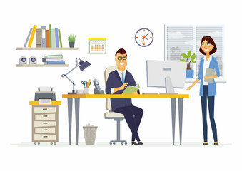 Office Meeting - modern vector cartoon business characters illustration