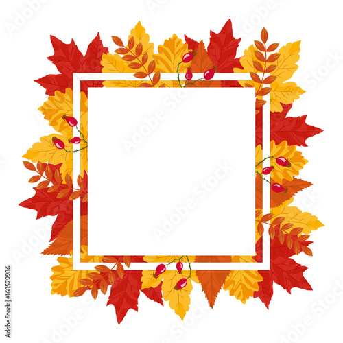 autumn leaves vector square frame template stock image and royalty