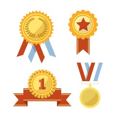 Gold awards and medals with ribbons illustrations set