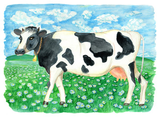 Cow on the green field with daisy flowers