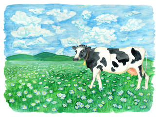 Green field with cow, flowers and copy space