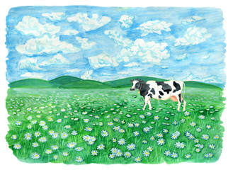 Grassland with cow, clouds in sky and copy space