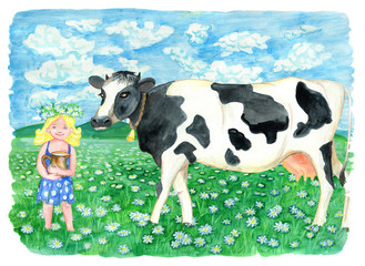 Cow on the field and beautiful blonde girl holding jar of milk