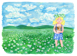 Beautiful girl holding pitcher of milk and standing on the grassland, with copy space