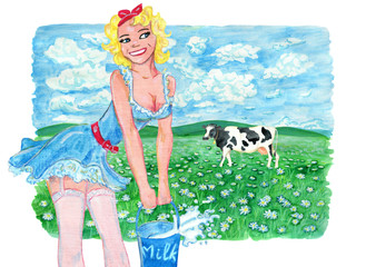 Beautiful pinup girl with bucket of milk against the background with field