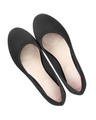 Black classic suede comfortable summer ballerina shoes top view isolated white