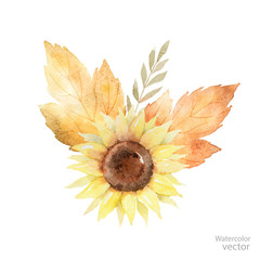 Watercolor vector bouquet of leaves, branches and sunflower isolated on white background.
