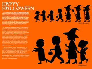 Set of silhouette character for halloween celebration