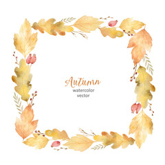 Watercolor vector square frame of leaves and branches isolated on white background.