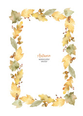 Watercolor vector rectangular frame of leaves and branches isolated on white background.