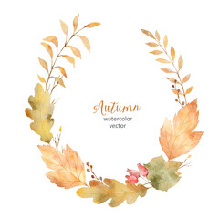 Watercolor vector wreath of leaves and branches isolated on white background.