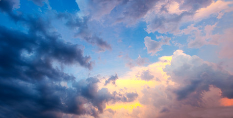 dramatic sky with sunset clouds
