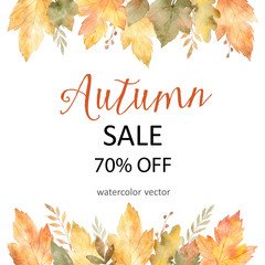 Watercolor autumn banner sales 75%. isolated on white background.