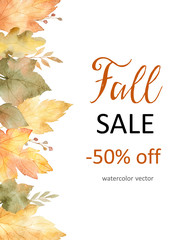 Watercolor autumn banner sales 50%. isolated on white background.