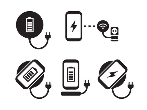 Wireless charging for smartphone icons set