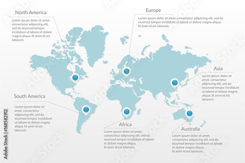 Vector world map infographic symbol. North South America, Europe ...