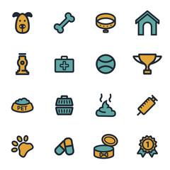 Vector flat dog icons set