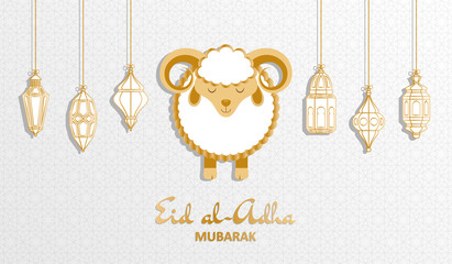 Eid Al Adha Background. Islamic Arabic lantern and sheep. Greeting card. Vector illustration.